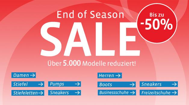 mirapodo: End of Season Sale mit bis zu 50% Rabatt und 5€ Gutschein für Newsletter - Schuhe!