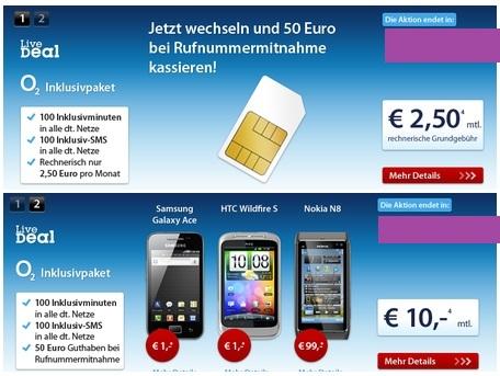 livedealcsvg Günstiger Handyvertrag! o2 Inklusivpaket mit 100Minuten/100 SMS in alle Netze für 2,50€/Monat (Mit Smartphone nur 10€/Monat)