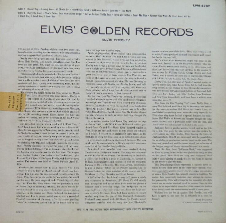 ELVIS' GOLD RECORDS  Lpm1707bc8px6