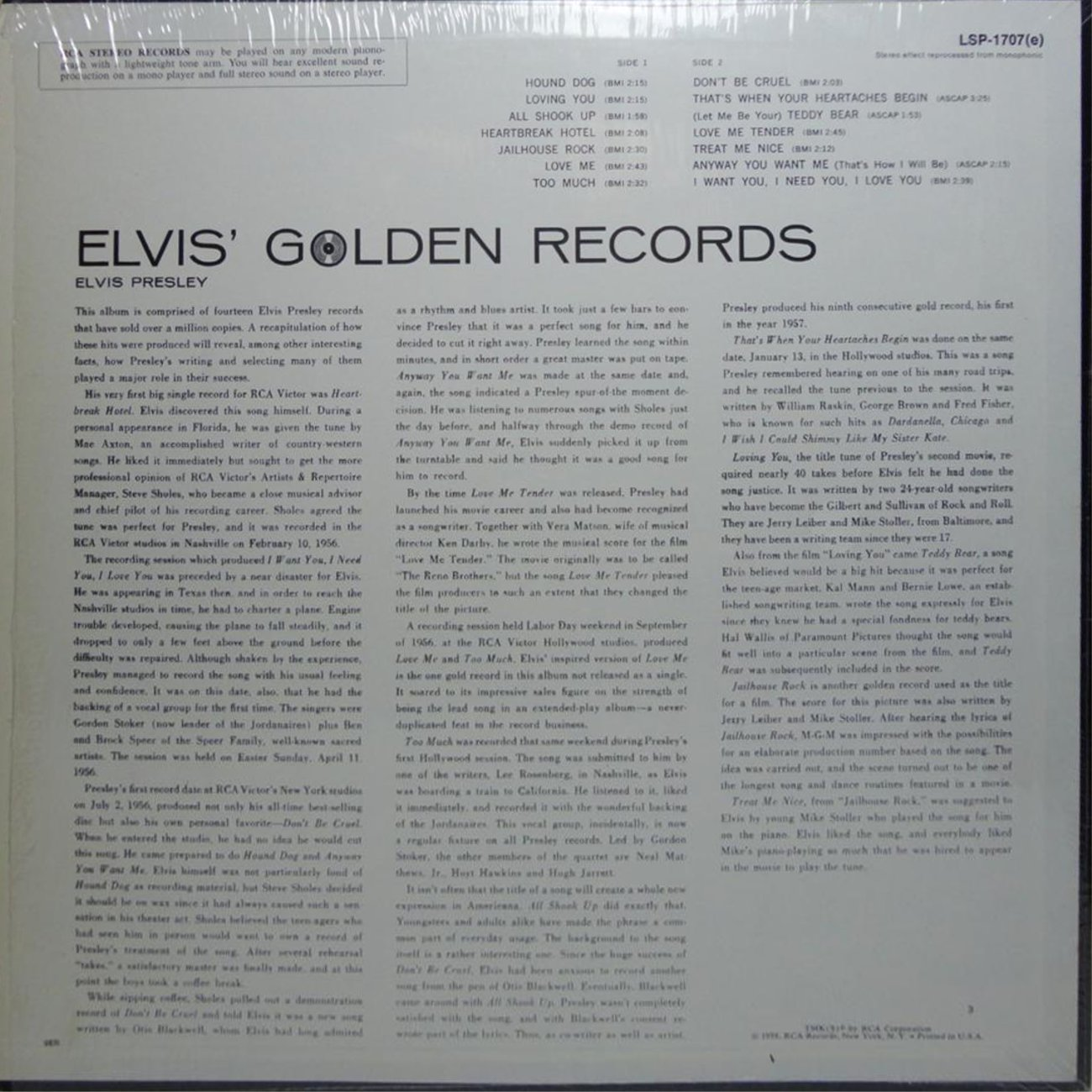 ELVIS' GOLD RECORDS  Lsp1707bwhjdy
