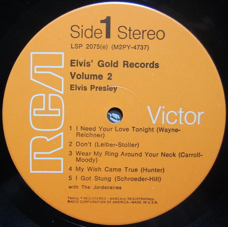 ELVIS' GOLD RECORDS VOL 2 Lsp2075csjr86