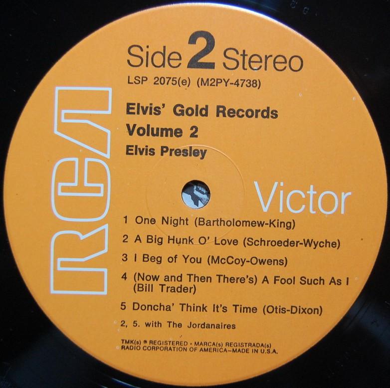 ELVIS' GOLD RECORDS VOL 2 Lsp2075dodrcl