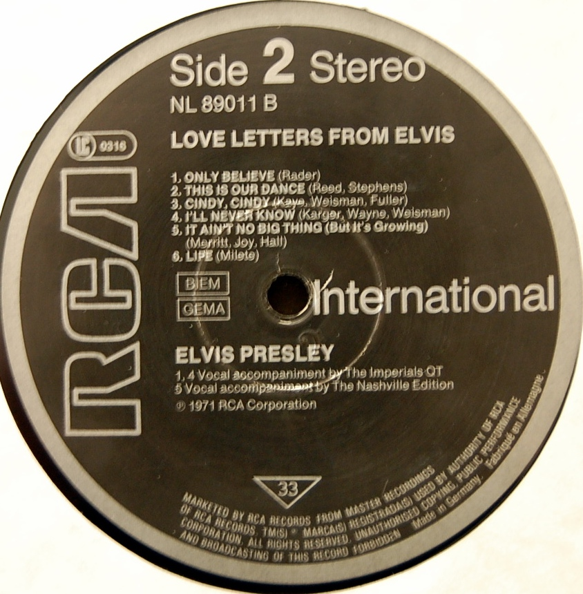 LOVE LETTERS FROM ELVIS Lsp4530-10gkp65