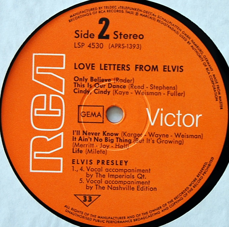 LOVE LETTERS FROM ELVIS Lsp4530-40kepz