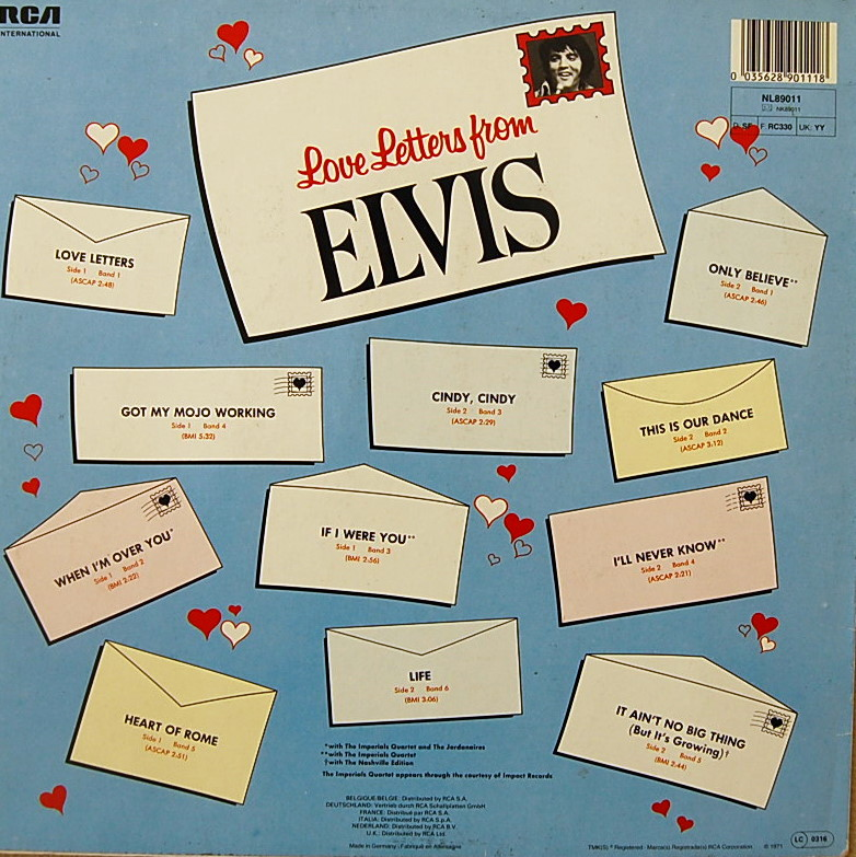 LOVE LETTERS FROM ELVIS Lsp4530-8v0fcz