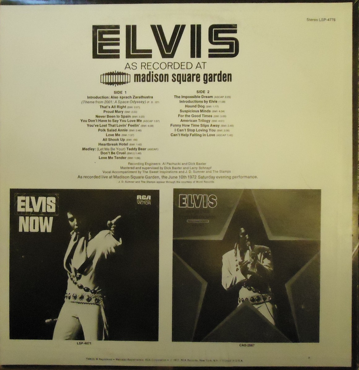 ELVIS AS RECORDED AT MADISON SQUARE GARDEN Lsp4776haxroa