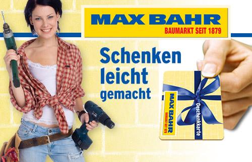 qypedeals: 10€ Max Bahr Baumarkt Geschenkkarte für nur 5€! - weitere 5€ für Kundenkarten-Neuantrag!