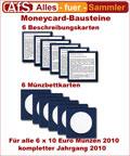 6 Moneycard Bausteine für 10 Euro Gedenkmünzen 2010