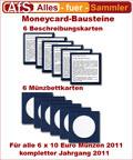 6 Moneycard Bausteine für 10 Euro Gedenkmünzen 2011