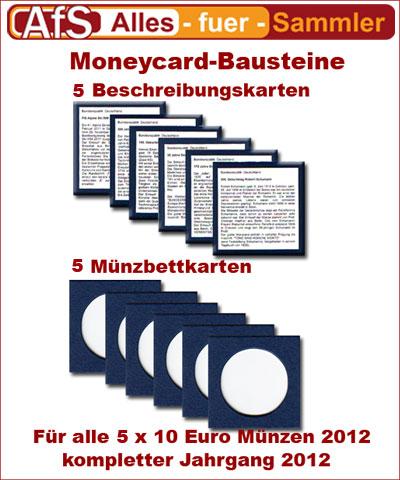 5 Moneycard Bausteine für 10 Euro Gedenkmünzen 2012