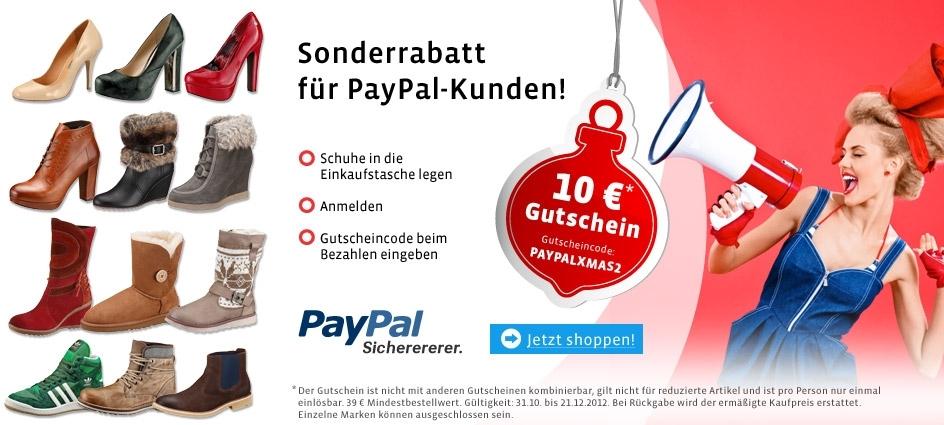 mirapodo: 10€ Gutschein für den Schuhversender bei paypal Zahlung (39€ MBW) - Schuhe, Stiefel usw..
