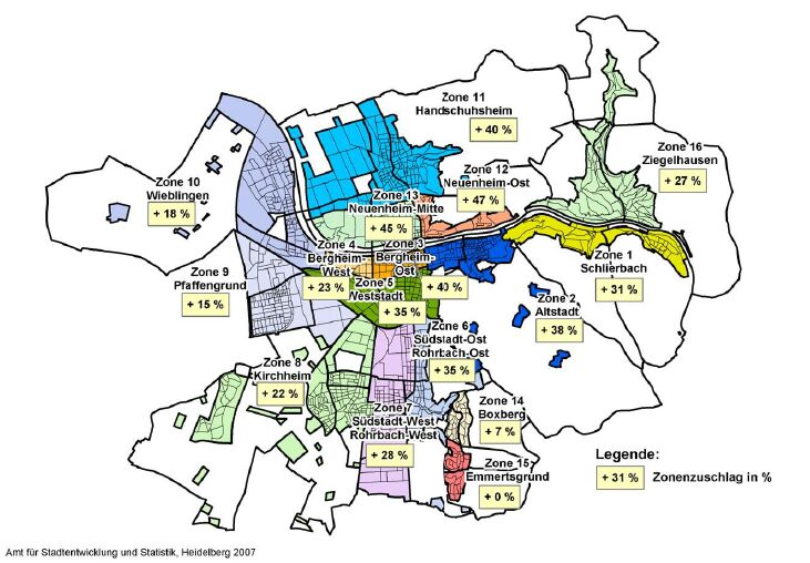the official mietspiegel map average rents for heidelberg