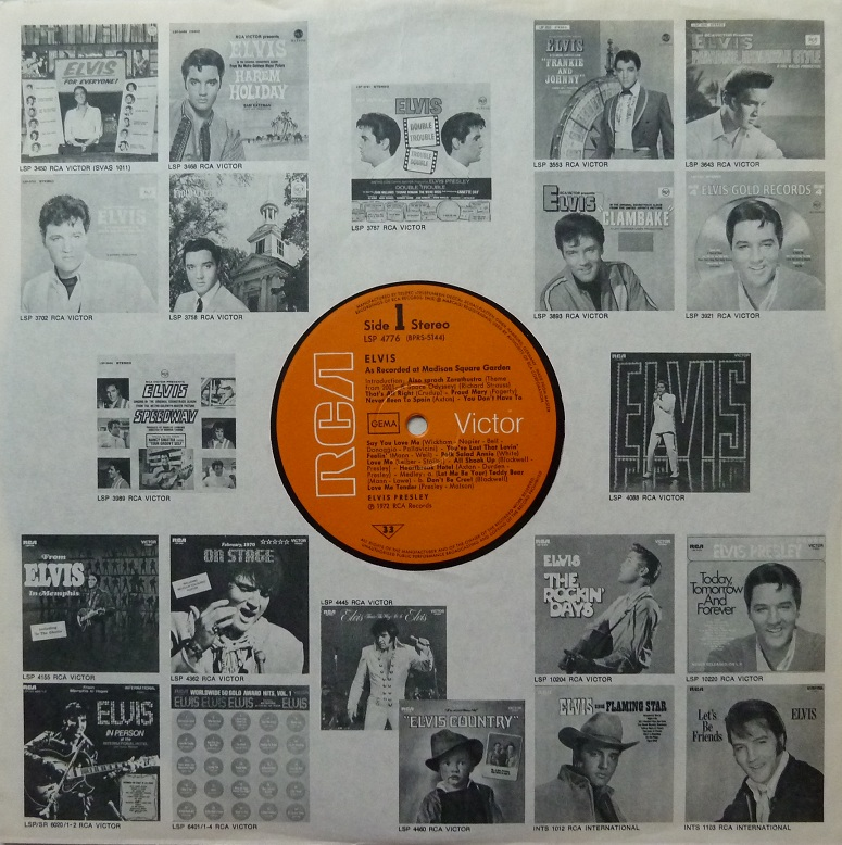 ELVIS AS RECORDED AT MADISON SQUARE GARDEN Msginnersleevean5eu7