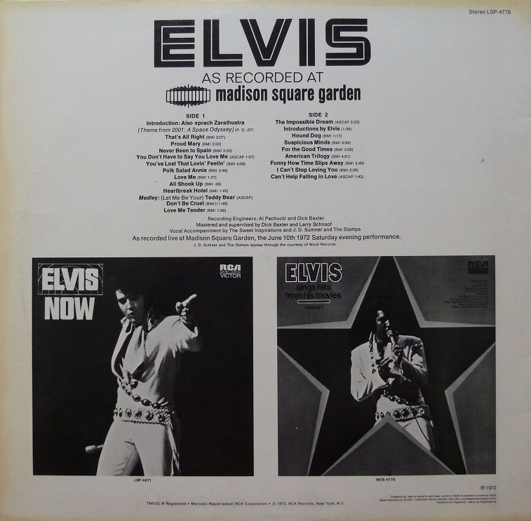 ELVIS AS RECORDED AT MADISON SQUARE GARDEN Msgrckseiteejc61