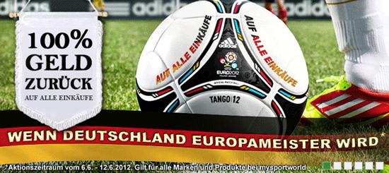 mysportworld: 100% kostenloser Einkauf wenn Deutschland Europameister wird + 15€ Gutschein!