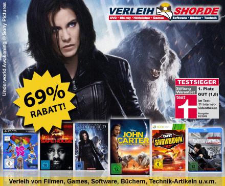 DailyDeal: 40€ Gutschein für verleihshop.de für nur 12,50€ - DVD/Blu-ray/Games Online Videothek!