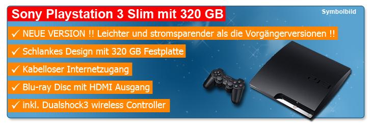 ebay WOW: Sony Playstation 3 Slim 320GB für nur 199€ inkl. Versand! + Wireless Controller
