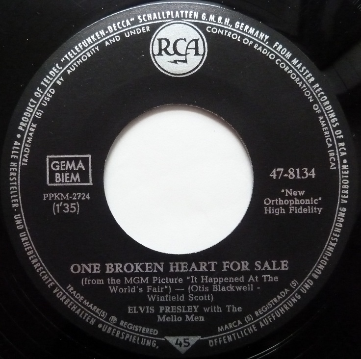 One Broken Heart For Sale / They Remind Me Too Much Of You Onebrokenside17u991