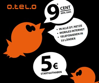 o.tel.o: Gratis Prepaidkarte mit 5€ Startguthaben im vodafone Netz! - 111 min/SMS in alle Netze gratis!