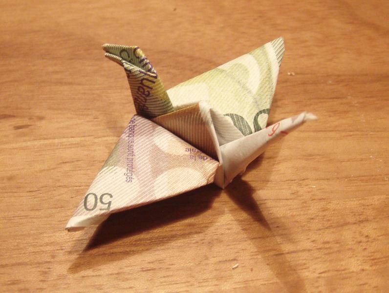 Origami Vogel Aus Geldschein Geldscheine Falten Schmetterling