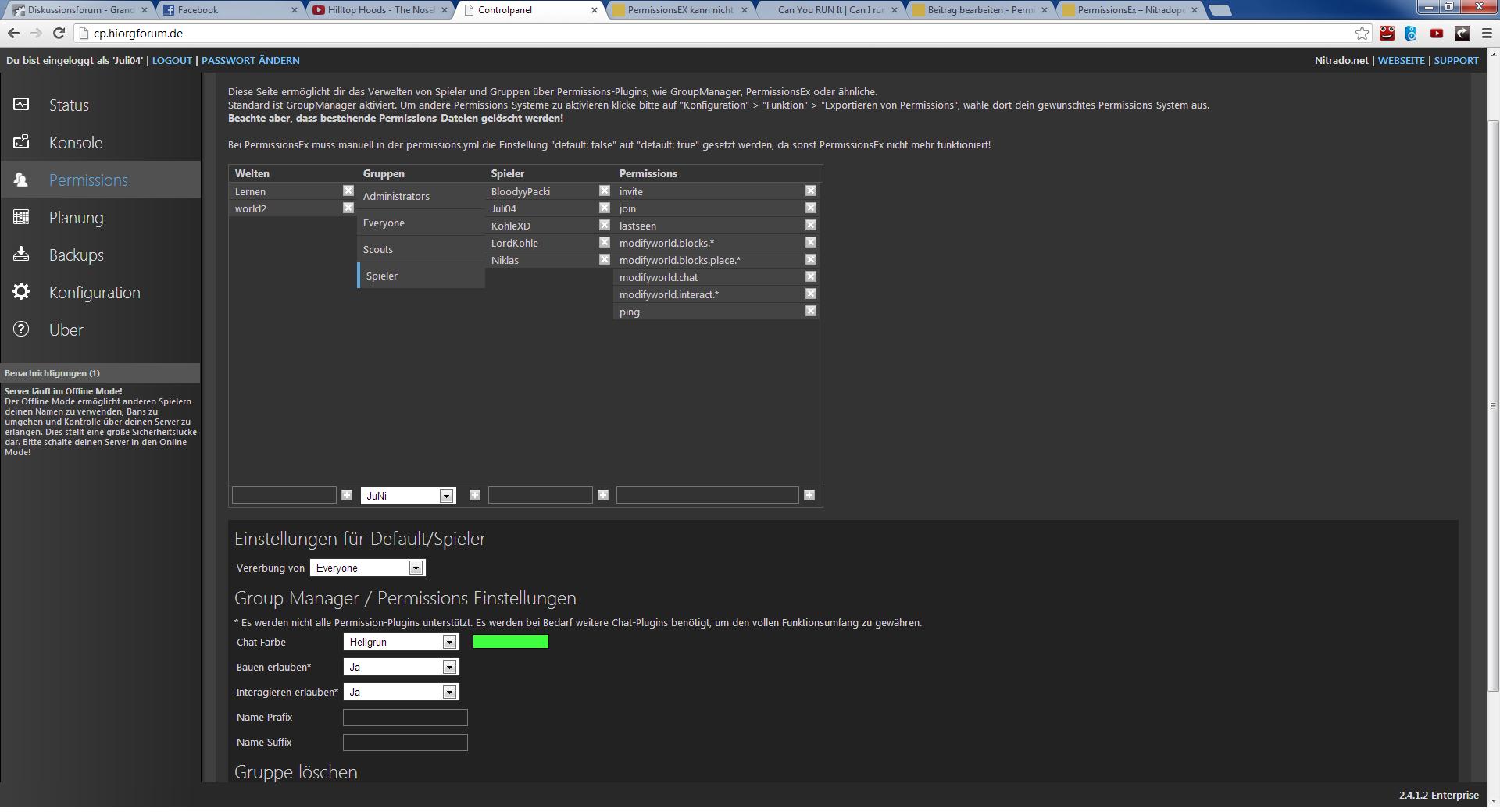 PermissionsEx Funktioniert Nicht Bukkit Spigot Nitradonet - Minecraft nitrado server gruppen erstellen