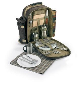 picknick rucksack picknickkorb f r 4 personen decke geschirr ebay. Black Bedroom Furniture Sets. Home Design Ideas