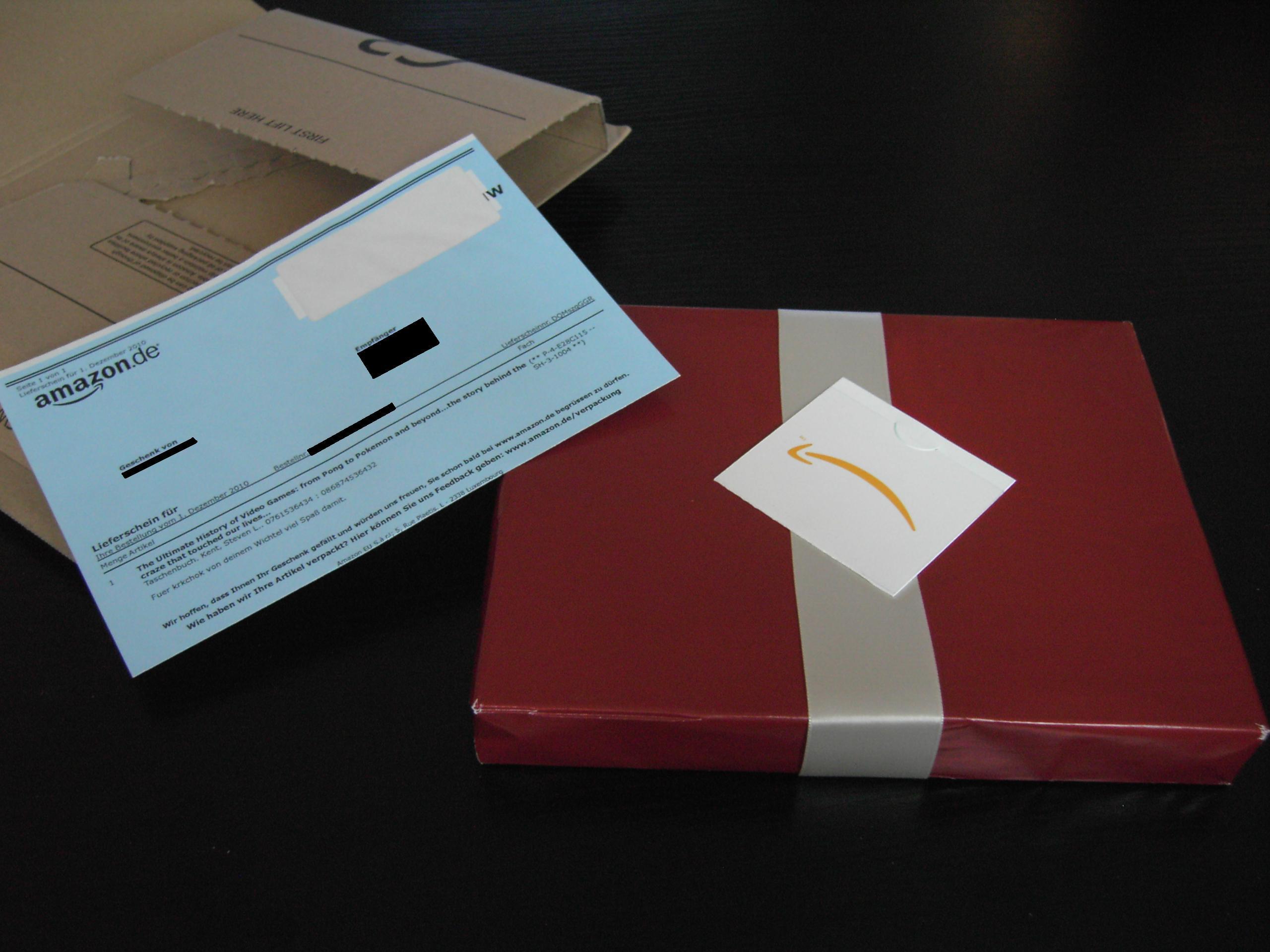 Amazon geschenk lieferschein