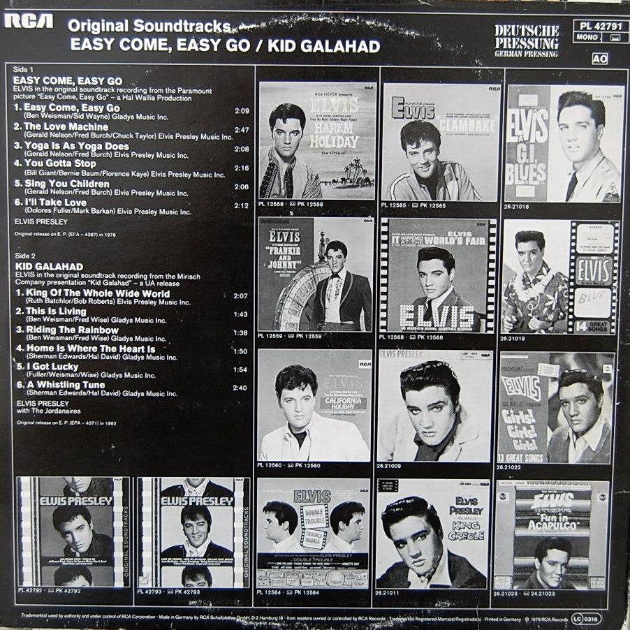 ORIGINAL SOUNDTRACKS: EASY COME EASY GO / KID GALAHAD Pl-427911jvi7k