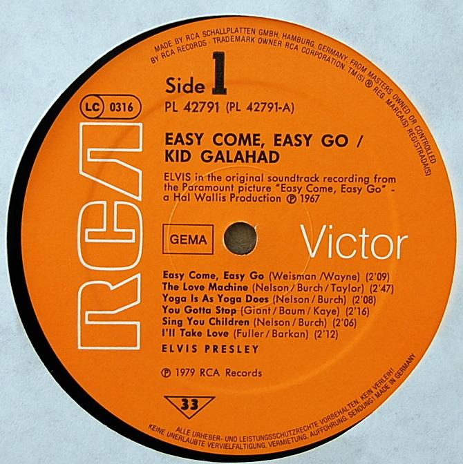 ORIGINAL SOUNDTRACKS: EASY COME EASY GO / KID GALAHAD Pl-427912ppi1k