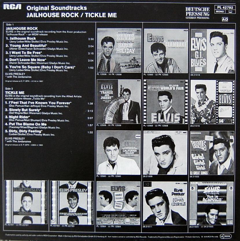 ORIGINAL SOUNDTRACKS: JAILHOUSE ROCK / TICKLE ME Pl-4279212mcn5