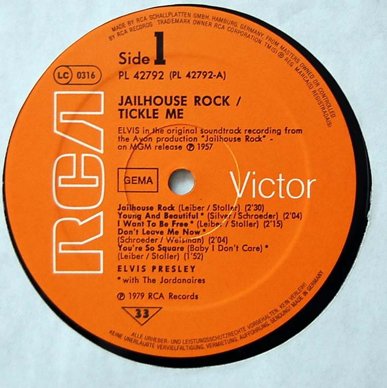 ORIGINAL SOUNDTRACKS: JAILHOUSE ROCK / TICKLE ME Pl-4279221vcie