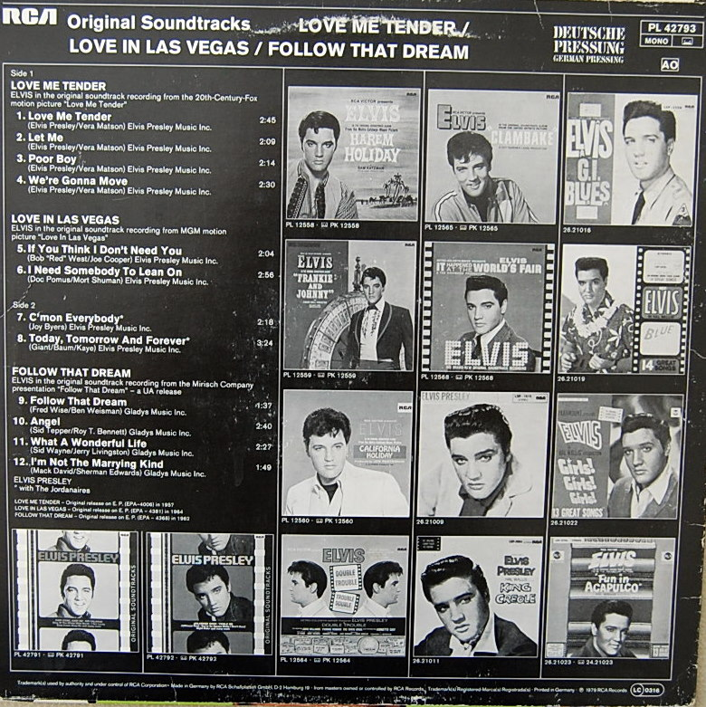 ORIGINAL SOUNDTRACKS: LOVE ME TENDER / LOVE IN LAS VEGAS / FOLLOW THAT DREAM Pl-42793136dlg