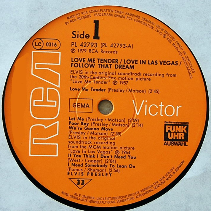 ORIGINAL SOUNDTRACKS: LOVE ME TENDER / LOVE IN LAS VEGAS / FOLLOW THAT DREAM Pl-427934g1isk