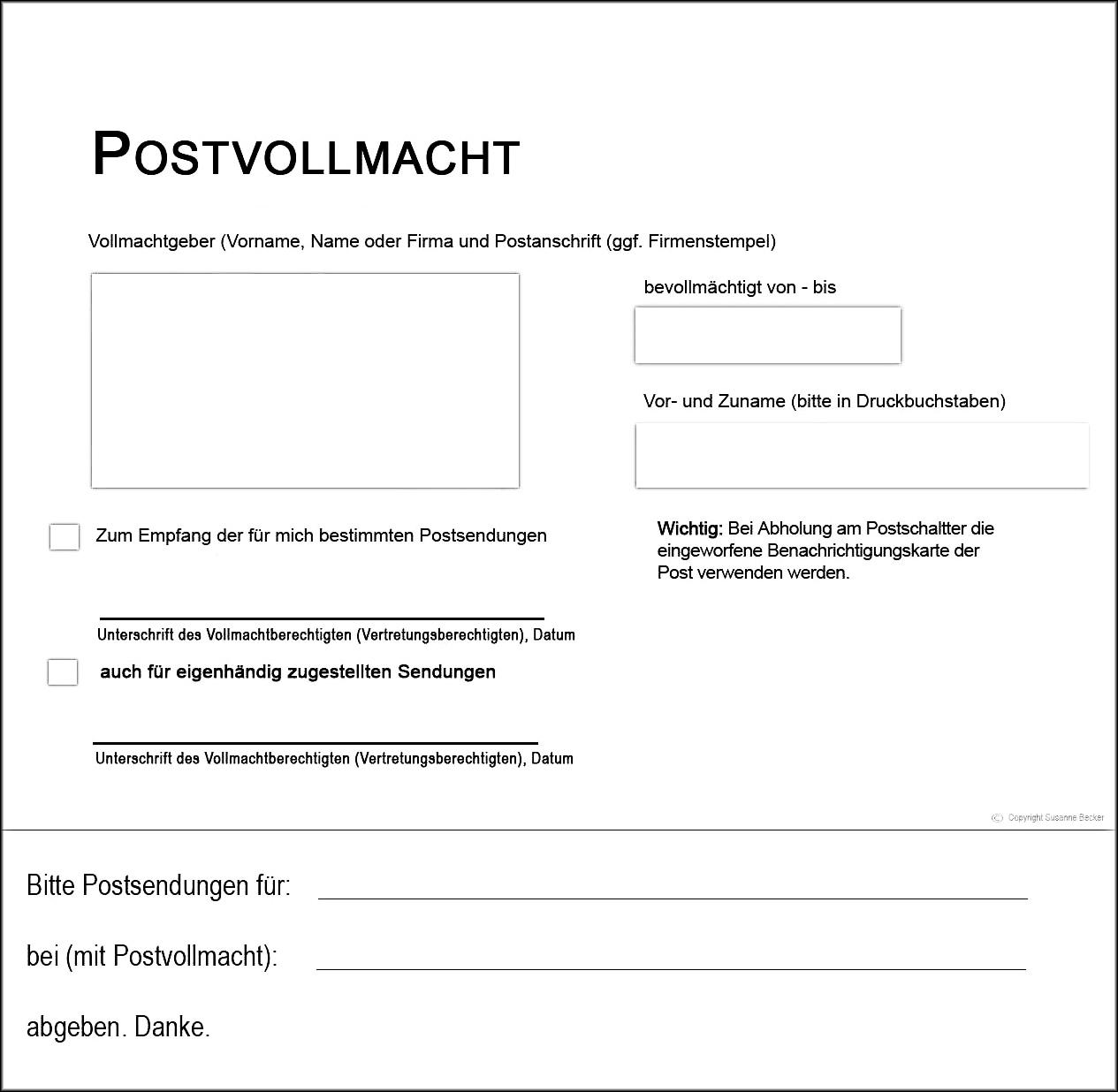 postvollmacht deutsche post tracking support. Black Bedroom Furniture Sets. Home Design Ideas