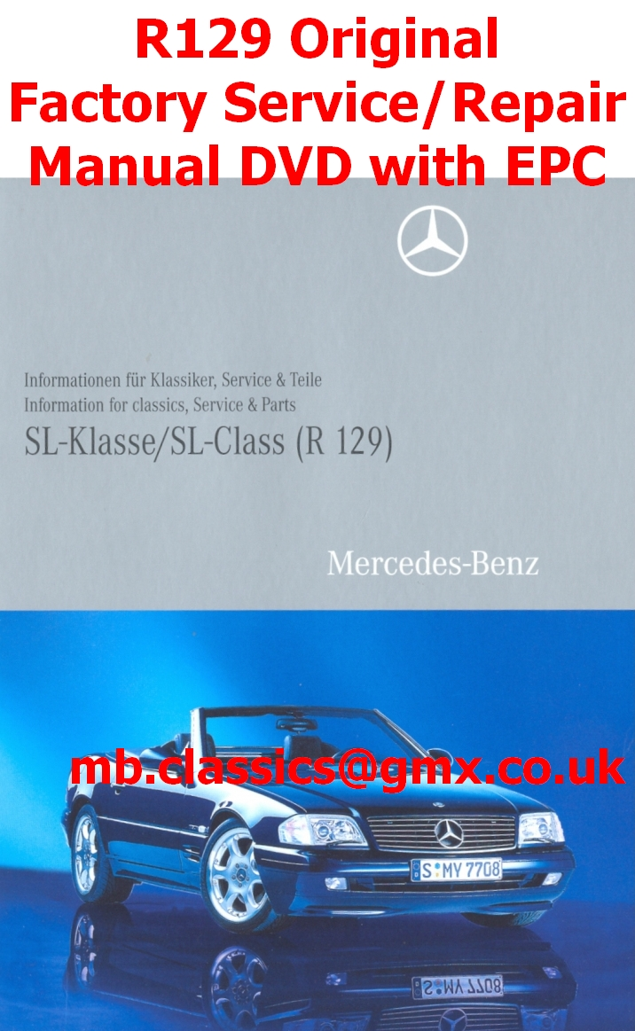 Mercedes r129 original factory service manual dvd sl 600 for 2003 mercedes benz sl500 owners manual