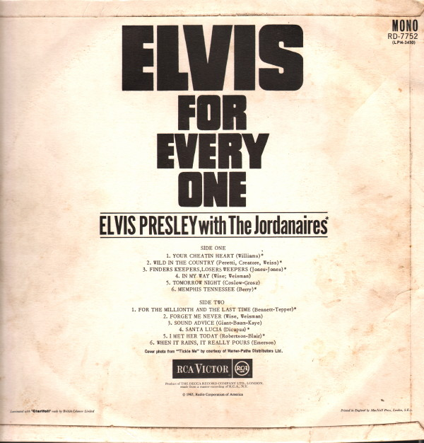 ELVIS FOR EVERYONE Rd-7752-20eumx
