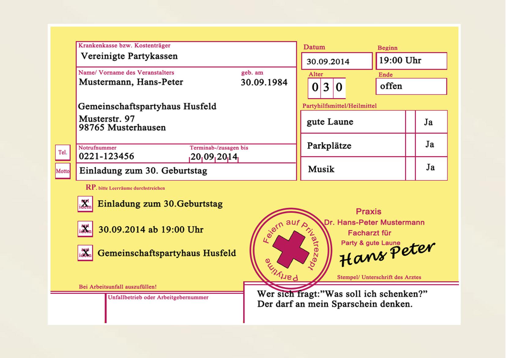Privatrezept Privat Rezept Einladungskarten Einladung Geburtstag, Einladung