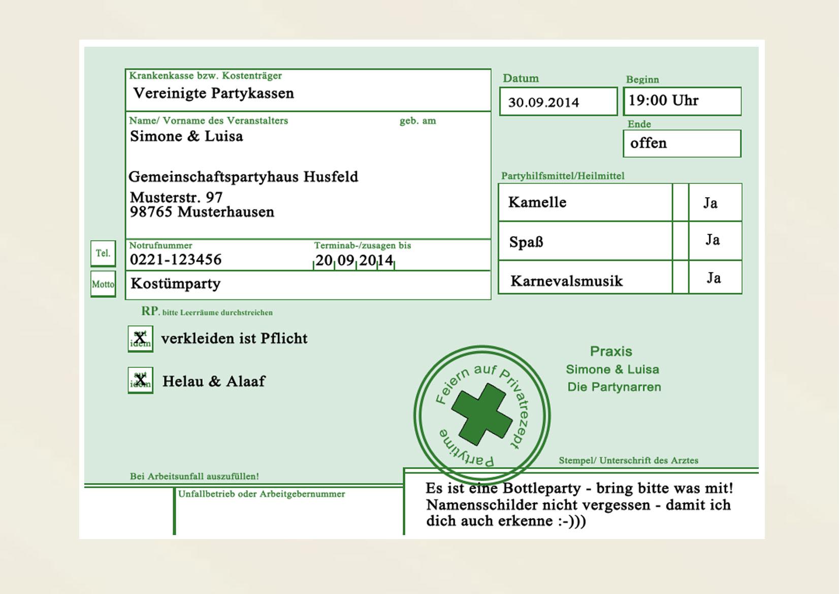 Privatrezept Privat Rezept Einladungskarten Einladung .