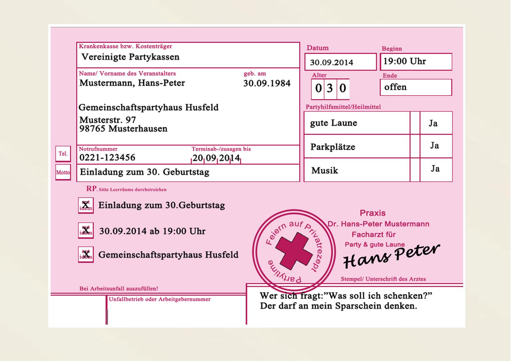 Privatrezept Privat Rezept Einladungskarten Einladung Geburtstag Arzt Party | eBay