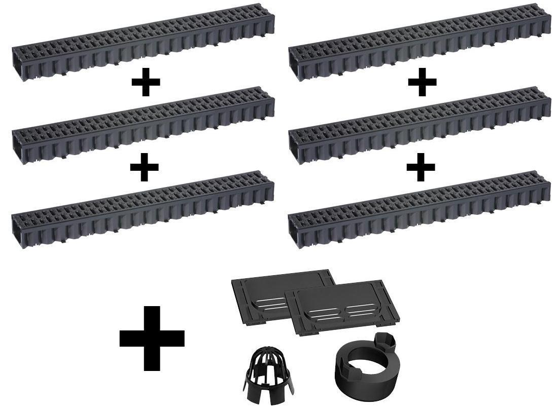 aco hexaline entw sserungsrinne set stegrost kunststoff 6 x 1 m inkl kit. Black Bedroom Furniture Sets. Home Design Ideas