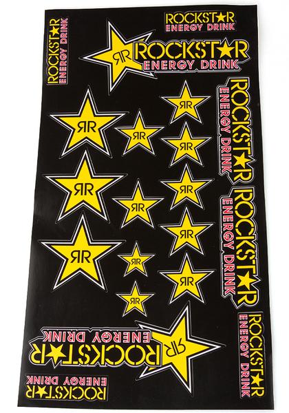 rockstar energy sticker blatt star aufkleber set schwarz. Black Bedroom Furniture Sets. Home Design Ideas