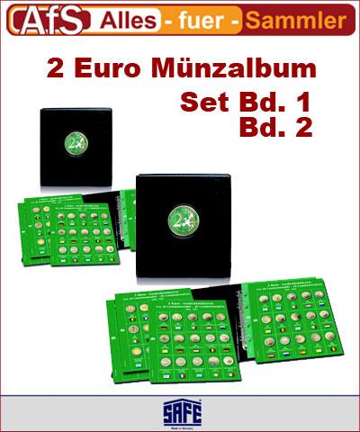 SAFE Premium Münz Album Set Bd.1 und Bd. 2 für 2 € Münzen