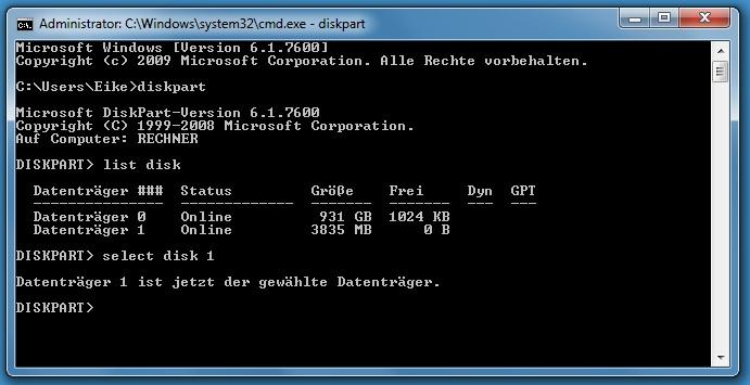 selectdisk1bwaa - [Tutorial] USB-Stick bootbar machen