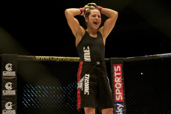 Sheila Gaff is happy after the long layoff. (Photo: Dolly Clew/Cage Warriors)
