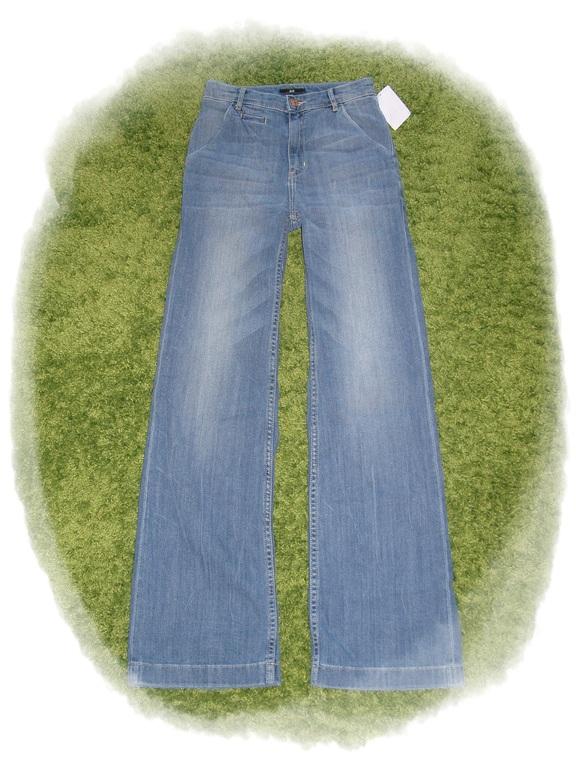 h m denim hose marlene jeans mit hohem bund weitem bein. Black Bedroom Furniture Sets. Home Design Ideas