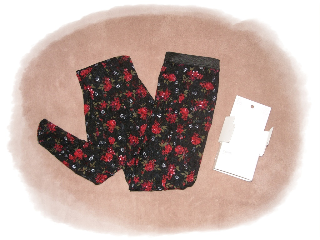 h m strumpfhose tights aus spitze rosen blumen s m l ebay. Black Bedroom Furniture Sets. Home Design Ideas