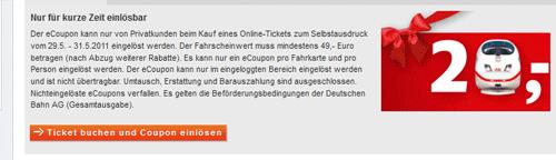 DB - Bahn: 20€ Rabatt bei Online Bahnreisen mit Gutscheincode! Gilt auch bei Bahncardrabatt!