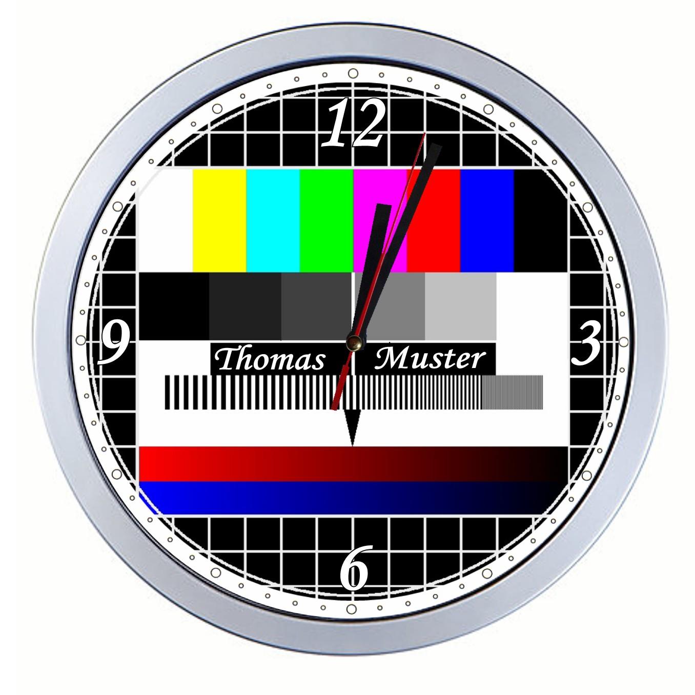 wanduhr mit testbild motiv tv designer mit wunschnamen fernseher k chenuhr ebay. Black Bedroom Furniture Sets. Home Design Ideas