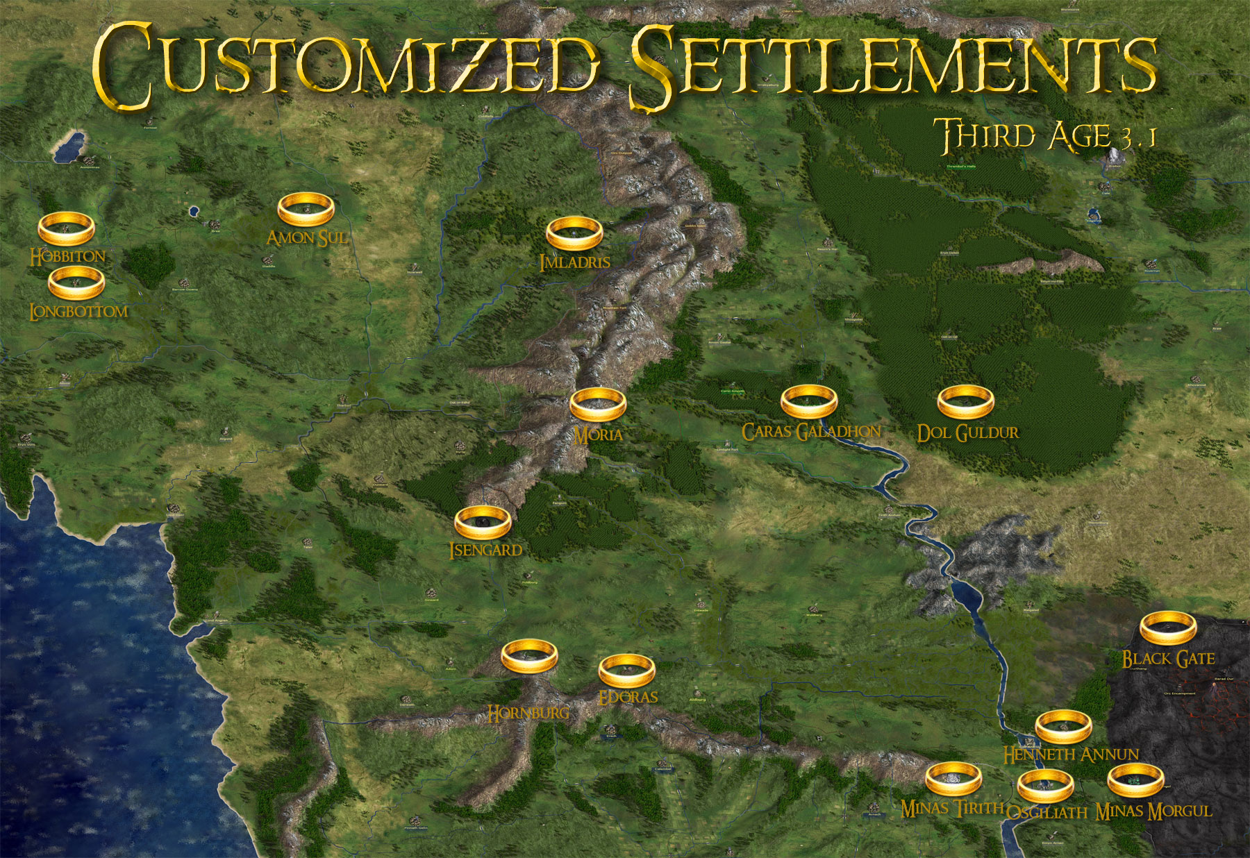 Map Of All Customized Settlements Third Age Total War - Rome total war map city locations