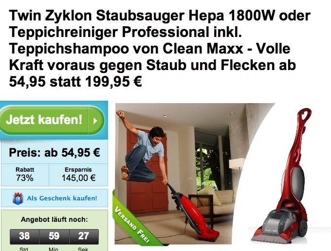 clean maxx twin zyklon staubsauger oder teppichreiniger professional teppichshampoo f r 54 95. Black Bedroom Furniture Sets. Home Design Ideas